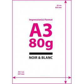 Impression Noir&Blanc Format A3 (Papier Classique)