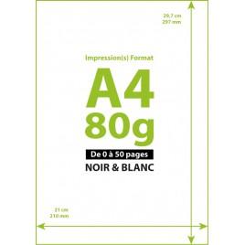 Impression A4 Noir&Blanc à la page jusqu'à 50 copies
