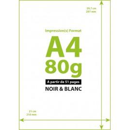 Impression A4 Noir&Blanc à la page à partir de 51 copies