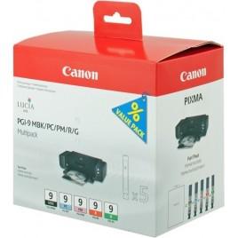 ORIGINAL Canon 1033B013 Multipack Noir(e) + Cyan + Magenta + Rouge + Vert PGI-9multi1 1033B013 - 5x 14ml - 5x 1.500 pages